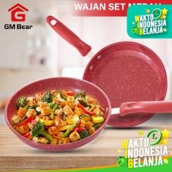 GM Bear Wajan Set Penggorengan Merah isi 2pcs 1240 - Frying Pan Set
