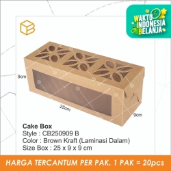 Dus Bolu Gulung, Roll Cake Box, Box Kue Brownies Kukus TC - CB250909 - Brown