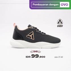Aerostreet 37-40 Sharron Hitam Peach - Sepatu Sneakers Sport Wanita - 39