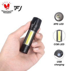 Senter XPE USB cob mini usb recharger zoom led Q5