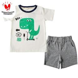 Bearhug Setelan Bayi Laki-laki Dino RRR Putih Cln Abu XUF5 6-18 Bulan