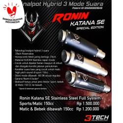 Knalpot Hybrid Ronin Katana SE Stainless Fullsystem Sport/Matic 150cc