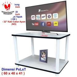 Rak TV Minimalis Putih 2 Susun ( RS2-4060 ), Rak TV Murah, Meja TV, le