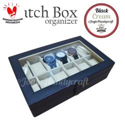[PROMO LAGI] Kotak Jam Tangan isi 12 / Tempat Jam Tangan / Watch Box - Hitam Krem