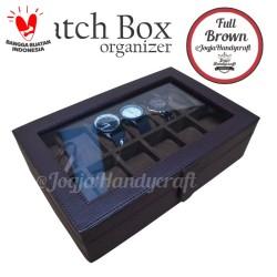 [PROMO LAGI] Kotak Jam Tangan isi 12 / Tempat Jam Tangan / Watch Box - Cokelat Full