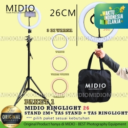 RingLight 26 Midio Plus Stand 2M Streaming Selfie Vlogging Studio Foto - RL26