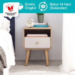 Dekoruma Mori Meja Nakas Minimalis 1 Laci - Bed Side Table