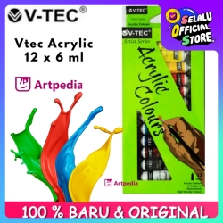 V TEC ACRYLIC COLOURS 6 ML / V TEC CAT AKRILIK 12 WARNA
