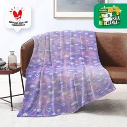 King Rabbit Thermal Blanket Selimut Fleece 150x200 cm Purple Love