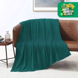 King Rabbit Thermal Blanket / Selimut Fleece 150x200cm (Polos 4 Warna) - Green