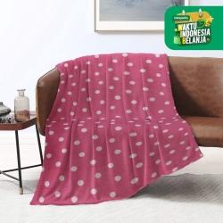 King Rabbit Thermal Blanket Selimut Fleece 150x200 cm Dot Pink