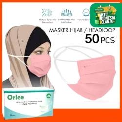 Masker 3 Ply 3ply Headloop Hijab Orlee Original kemenkes Pink isi 50
