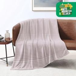 King Rabbit Thermal Blanket Selimut Fleece 150x200 cm Line - Peach
