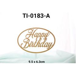 TI-0183-A Topper tulisan plastik happy birthday besar oval emas