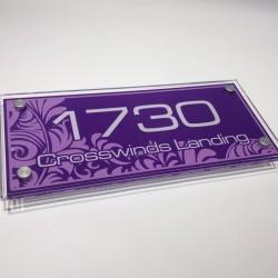 Nomor rumah akrilik / acrylic dekoratif background ungu