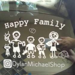 Stiker Kaca Mobil Happy Family (sticker keluarga)