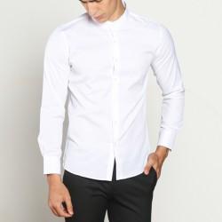 VM Kemeja Krah Shanghai - Mandarin collar Putih slimfit Panjang - M