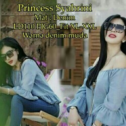 [princess syahrini RO] blouse wanita super denim biru muda