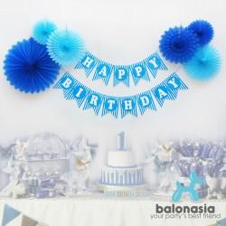 Balonasia Dekorasi Backdrop Set Ulang Tahun - Biru Garis Multipattern