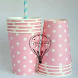 Gelas Kertas Pink Soft / Paper Cup Polkadot / Paper Cup Ulang Tahun