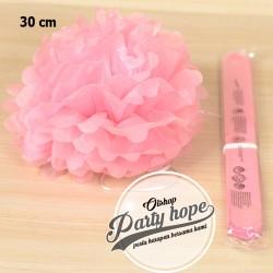 Pompom Kertas Pink Muda / Pompom Kertas 30 Cm / Tissue Paper / Pompom