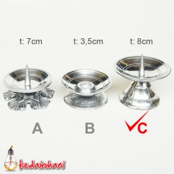 Candle Holder Tempat/Tatakan Lilin Doa Minimalis Logam Parabola t:8cm