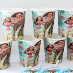 gelas kertas moana + sedotan + hiasan / papercup moana isi 12pcs