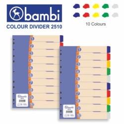 Bambi Divider Plastik Folio 10 Warna 2510 | Pembatas Binder Plastik F4