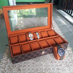 .Kotak|Tempat Jam Tangan Isi 12 Motif Damier