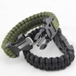 Gelang Outdoor Peluit Paracord Survival Bracelet Flint Fire Starter
