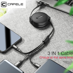 CAFELE Lightning Micro Usb Type C Cable Outside 3 in 1 Retractable
