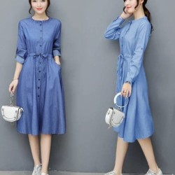 [Dress wiwin RO] dress wanita denim biru - Biru