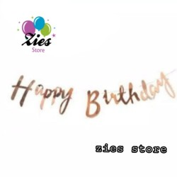 Banner flag / banner happy birthday tulisan sambung rose gold