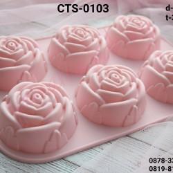 CTS-0103 Cetakan silikon coklat puding bunga flower mawar ros mooncake
