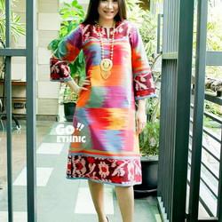 Dress tenun ethnic gradasi batik modern dress casual kain tenun asli