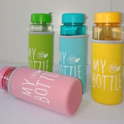 Botol Minum My Bottle Full Colour Transparan free Pouch Busa