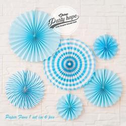 paper fan / Paper Fans Dekorasi biru / Paper Fans bunga kipas set biru