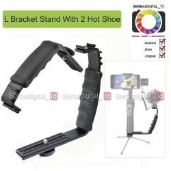 Karnel L Shape Bracket Grip Handheld 2 Hot Shoe MIC Light Vlogger