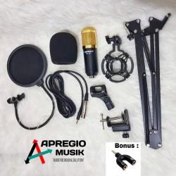 paket lengkap mic condensor bm800 pop filter stand jepit spliter