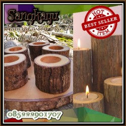 Rustic candle holder tea lights dekorasi tempat lilin kayu no elektrik