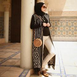 Outer tenun ikat Troso long vest motif Sumba NTT Lombok Toraja panjang