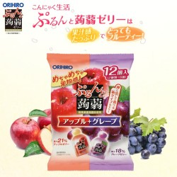 Orihiro Konyaku Jelly Pouch : Apple + Grape 240g (12 pcs x 20 Gram)