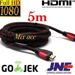 KABEL HDMI 5M SERAT JARING HDMI TO HDMI 5 m 1080P V1.4 3D HQ