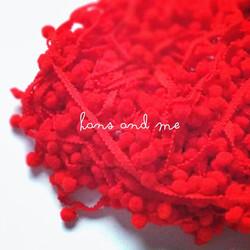 Renda Pompom Bakso - Merah (jual per yard)