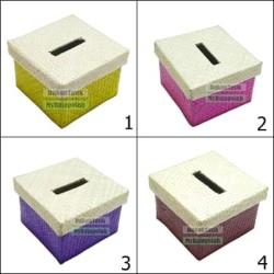 Box Tempat Tissue Kotak - Organizer Kerajinan Anyaman Polos Warna Warn