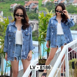 Jaket Jeans Wanita / Jaket Oversize 8186 / Jeans Tebal Cewek
