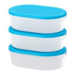 PO302 IKEA Jamka Tempat makanan putih transparan biru