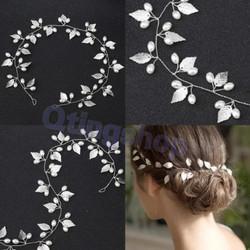 Hairpiece hiasan aksesoris rambut pesta model daun silver
