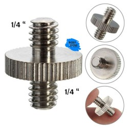 1/4 to 1/4 Male Dual Head Camera Mount Adapter Hot Shoe Metal Screw