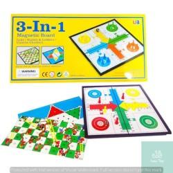 Lumi Toys Magnetic 3 in 1 Ludo Halma Ular Tangga Snake Ladder Magnet